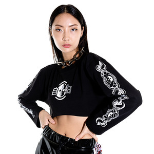freewill sleeve crop top_black